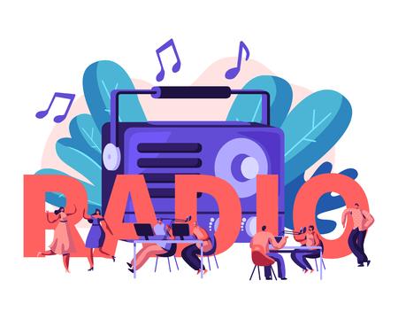 Concept de personnes et de radio. Les personnages masculins et féminins écoutent de la musique et des actualités, de la danse, de la diffusion d'un animateur de radio et communiquent avec les auditeurs Affiche, bannière, brochure. Illustration vectorielle plane de dessin animé