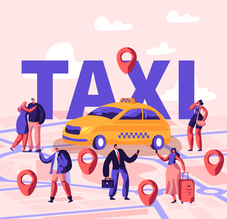 Personas que piden un taxi usando la aplicación y capturan el concepto de calle. Los personajes de pasajeros masculinos y femeninos se paran cerca del coche amarillo, cartel, pancarta, volante, folleto. Ilustración de Vector plano de dibujos animados Ilustración de vector