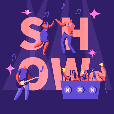 Talents Show Concept. Artists Play Guitar and Duet Sing on Stage in Front of Judges Holding Gold Stars. Music Band Entertain on Scene. Poster, Banner, Flyer, Brochure. Cartoon Flat Vector Illustration