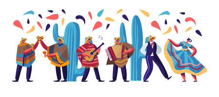 Cinco De Mayo Festival with Mexican People In Colorful Traditional Clothes, Musicians with Guitar, Maracas and Accordion and Dancers Celebrating National Holiday. Cartoon Flat Vector Illustration Archivio Fotografico - 122945594