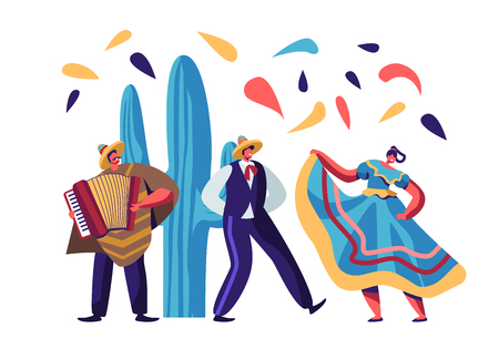 Cinco De Mayo Festival. Mexican Artists Band of Man with Accordion and Couple of Male and Female Dancers in Traditional Clothes Celebrating National Folk Music Holiday Cartoon Flat Vector Illustration