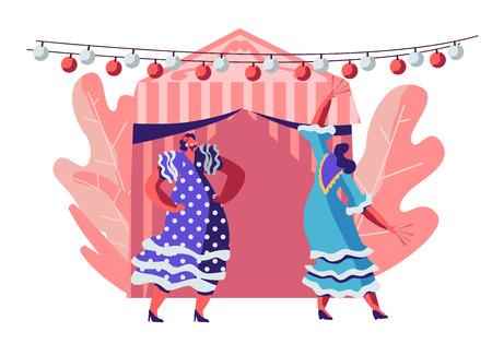Schöne mexikanische Frauen in traditionellen Kleidern tanzen während des Cinco De Mayo Festivals in der Nähe von dekoriertem Feenzelt und festlichen Lichtern. Feier der lateinamerikanischen Volksmusik. Flache Vektorillustration der Karikatur