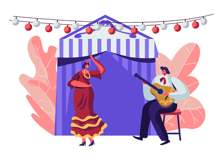 Cinco De Mayo Festival of Latin Folk Music Celebration. Mexican Girl in Traditional Dress Dance at Music Playing with Guitarist in Sombrero near Decorated Fairy Tent. Cartoon Flat Vector Illustration Archivio Fotografico - 122602341