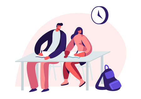 Couple of Young Male and Female Students Characters Sitting at Desk in Classroom Listening and Writing Lecture. Gaining Knowledge and Higher Education, Examination. Cartoon Flat Vector Illustration Illustration
