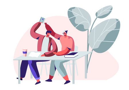 Couple of Students Laughing and Fooling on Lecture or on Break in University. Guy Taking Away Notebook of his Classmate. Higher Education, Friends Learning in College. Cartoon Flat Vector Illustration
