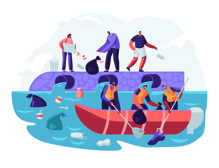 Water Plastic Pollution. People Throw Garbage to River, Workers on Boat Catching Trash from Underwater, Wastes Floating in Ocean. Ecology, Environment Protection. Cartoon Flat Vector Illustration