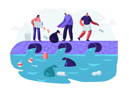 Water Plastic Pollution. People Dumping Garbage Into River, Trowing Trash from Bags and Litter Bins. Ocean Pollution, Ecology, Environment Protection, Conceptual Cartoon Flat Vector Illustration Foto de archivo - 122945606