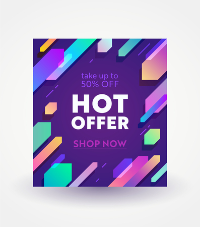 Banner for Digital Social Media Marketing Advertising. Hot Offer, Weekend Sale and Shopping Discount. Colorful Geometric Gradient Pattern, Minimal Design in Funky Style, Typography Vector Illustration