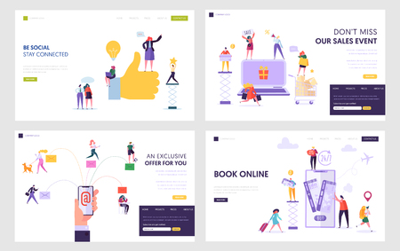Social Network, Online Shopping, Electronic Mail Service, Book Tickets in Internet Website Landing Page Templates Set. People Use Smart Tech in Life. Web Page. Cartoon Flat Vector Illustration, Banner