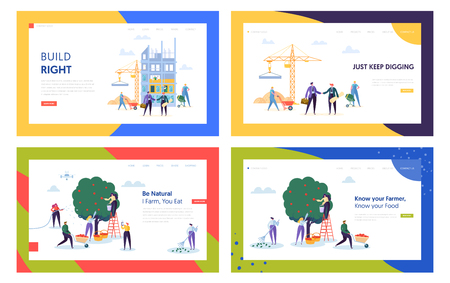 Gardening and Building Process Website Landing Page Templates Set. People Collecting Ripe Apple from Apple Trees in Garden, Architects Create House Web Page. Cartoon Flat Vector Illustration, Banner Иллюстрация