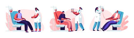 Volontari personaggi maschili seduti su sedie di ospedale medico che donano il sangue. Dottoressa Infermiera Prendilo in boccette di prova, Donazione, Giornata mondiale del donatore di sangue, Assistenza sanitaria. Cartoon piatto illustrazione vettoriale Vettoriali