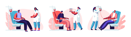 Volunteers Male Characters Sitting in Medical Hospital Chairs Donating Blood. Doctor Woman Nurse Take it in Test Flasks, Donation, World Blood Donor Day, Health Care. Cartoon Flat Vector Illustration Vettoriali