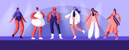 Fashion Show with Top Models Wearing Trendy Haute Couture Clothing and Demonstrating It on Runway. Girls in Trendy Clothing Stand in Raw on Scene or on Catwalk, Event. Cartoon Flat Vector Illustration Banco de Imagens - 122636392