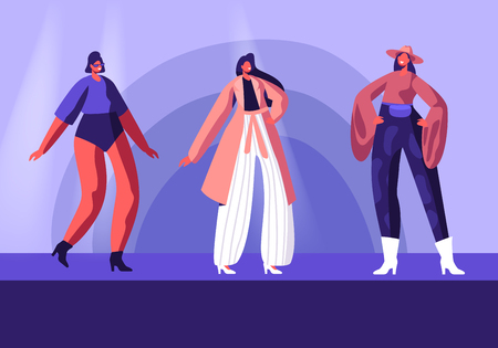Model Girls in Fashioned Haute Couture Clothing Walking on Runway Demonstrating New Collection of Apparel. Pret-a-Porte, Fashion Show on Catwalk. Female Characters Cartoon Flat Vector Illustration 向量圖像