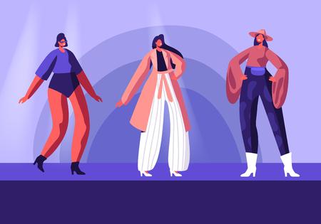 Ragazze modello in abbigliamento moda Haute Couture che camminano sulla pista che dimostra la nuova collezione di abbigliamento. Pret-à-Porte, Sfilata di Moda in Passerella. Personaggi femminili del fumetto piatto Vector Illustration