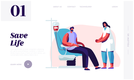 Transfusion Blood Donation Laboratory Website Landing Page. Female Nurse Character Receiving Blood and Giving Rubber Ball to Male Donor, Charity Web Page. Cartoon Flat Vector Illustration, Banner