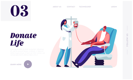 Page de destination du site Web de don de sang. Un personnage masculin fait un don de sang aux personnes malades, une infirmière prenant de la vie dans un récipient en plastique. Page Web des donateurs. Illustration vectorielle plane de dessin animé, bannière