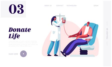 Pagina di destinazione del sito web per la donazione di sangue. Personaggio maschile dona sangue per persone malate, infermiera femminile che prende sangue vitale in un contenitore di plastica. Pagina Web del donatore. Cartoon piatto illustrazione vettoriale, Banner