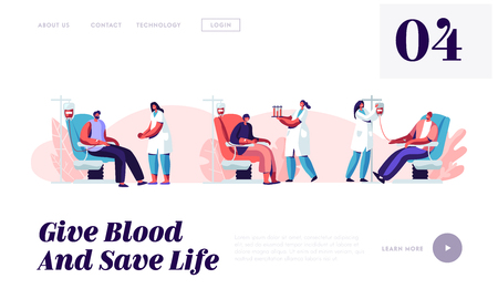 Blood Donation Website Landing Page, Volunteers Male Characters Sitting in Medical Hospital Chair Donating Blood, Male Donors in Clinic, Female Nurse Web Page. Cartoon Flat Vector Illustration, Banner Vettoriali