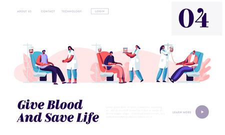 Pagina di destinazione del sito Web di donazione di sangue, personaggi maschili di volontari seduti su una sedia di ospedale medico che donano sangue, donatori maschi in clinica, pagina Web di infermiera femminile. Cartoon piatto illustrazione vettoriale, Banner, Vettoriali