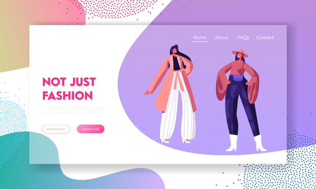 Fashion Catwalk Event Showing New Collection of Clothes Website Landing Page, Female Models Walk Runway in Different Dresses During Fashion Show. Web Page, Cartoon Flat Vector Illustration, Banner