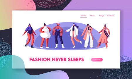 Fashion Show with Top Models Website Landing Page. Girls Wearing Modern Haute Couture Clothing Demonstrating on Runway or on Catwalk, Trendy Event.Web Page. Cartoon Flat Vector Illustration, Banner