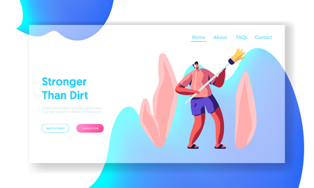 Man in Headset Listening Music and Dancing with Broom while Cleaning Home Website Landing Page, Weekend Housework Activity, Household Male Character Web Page. Cartoon Flat Vector Illustration, Banner Foto de archivo - 122636403
