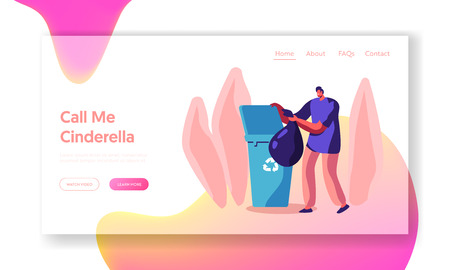 Man at Household Activities Website Landing Page, Male Character Cleaning Home Throw Garbage into Recycling Container. Housekeeping Duties and Chores Web Page. Cartoon Flat Vector Illustration, Banner