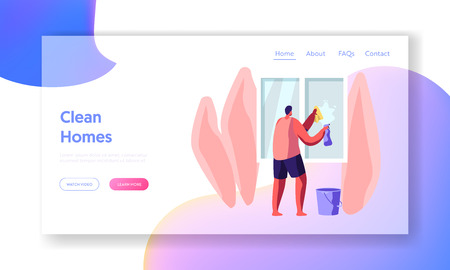 Houseworking Man Cleaning Home Wiping Window with Rag Website Landing Page, Household Male Character on Duties. Home Every Day Routine and Chores Web Page. Cartoon Flat Vector Illustration, Banner Illustration