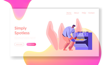 Household Man Baking Pies in Oven on Kitchen Website Landing Page, Cooking Male Character Homework on Weekend. Duties and Chores, Every Day Routine Web Page. Cartoon Flat Vector Illustration, Banner