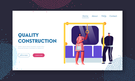 Diverse People Inside Metro Subway Train Website Landing Page. Males and Females in Public Transport. Subway, Tube or Underground Train Rapid Transit Web Page. Cartoon Flat Vector Illustration, Banner