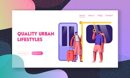 Subway Website Landing Page. People in Metro, Passengers in Underground Using Urban Public Transport, Characters Inside Underpass Transportation Web Page. Cartoon Flat Vector Illustration, Banner