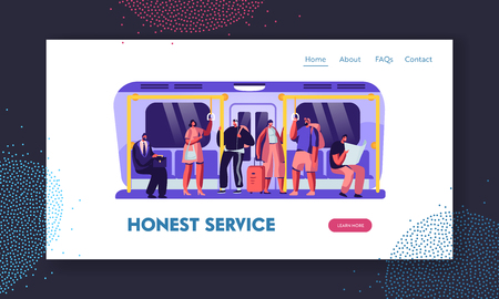 People in Metro Website Landing Page, Passengers in Underground Using Urban Public Transport. Tourists and Native Citizens Going by Subway Train Web Page. Cartoon Flat Vector Illustration, Banner 일러스트