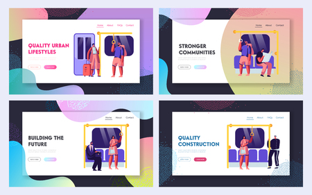 Public Transport Metro Website Landing Page Templates Set. Passengers in Underground, Tourists and Native Citizens Inside Underpass Transportation Web Page. Cartoon Flat Vector Illustration, Banner
