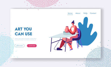 Pottery, Workshop, Ceramics Art Concept Website Landing Page. Female Character Sculpting New Utensil with Rotating Wheel, Tools and Raw Fireclay Web Page. Cartoon Flat Vector Illustration, Banner Ilustracja