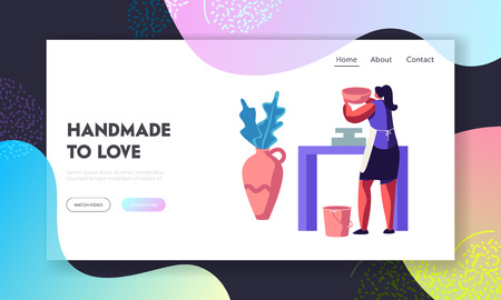 Girl Artist Decorating Ceramics at Pottery Workshop Website Landing Page. Handcrafted Pottery Master Class. Woman with Pot, Earthenware, Crockery. Web Page. Cartoon Flat Vector Illustration, Banner Иллюстрация