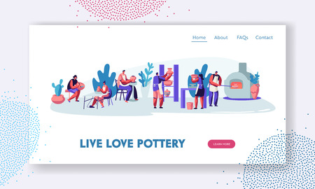 Pottery Workshop Website Landing Page. Characters Making and Decorating Pots, Earthenware, Ceramic Crockery, Group of People Enjoying Their Hobby Web Page. Cartoon Flat Vector Illustration, Banner