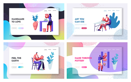 Pottery Manufacturing Website Landing Page Templates Set. Artists Create Fireclay Earthenware, Crockery, Pots Using Wheel. Decorative Arts and Crafts Web Page. Cartoon Flat Vector Illustration, Banner
