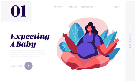 Happy Pregnant Relaxed Woman with Big Belly Sit in Lotus Pose Doing Yoga Asana. Female Character Waiting Baby, Happy Pregnancy Website Landing Page, Web Page. Cartoon Flat Vector Illustration, Banner