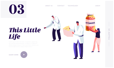 Healthy Lifestyle, Health Care Website Landing Page Template. Doctor Holding Stethoscope and Nurse Watching on Cardiogram. Woman with Vitamines Bottle Web Page Cartoon Flat Vector Illustration, Banner