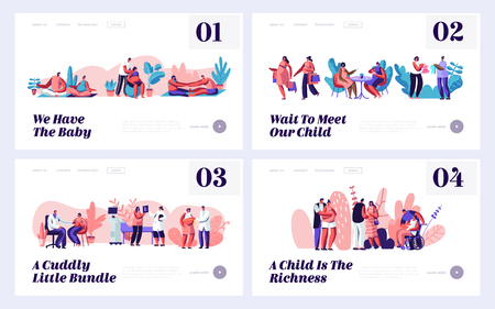 Pregnancy and Family Waiting Baby Website Landing Page Templates Set. Happy Couples Prepare Become Parents, Visiting Doctor, Exercising, Meet Friends Web Page. Cartoon Flat Vector Illustration, Banner