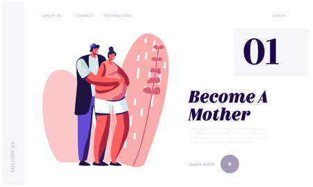 Happy Couple of Husband and Wife Prepare Become Parents. Man Embracing Pregnant Woman with Big Belly. Young Family Waiting Baby, Website Landing Page, Web Page Cartoon Flat Vector Illustration, Banner