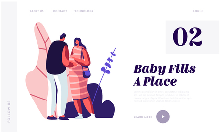 Man Touch Belly of Pregnant Wife. Young Family Waiting Baby, Happy Couple of Male and Female Characters Prepare Become Parents. Website Landing Page, Web Page. Cartoon Flat Vector Illustration, Banner Ilustração