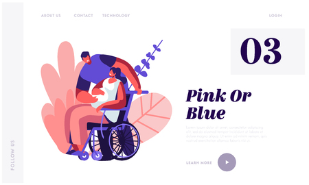 Male Character Touching Belly of Disabled Pregnant Woman on Wheelchair. Happy Family Relations, Pregnancy, People Awaiting Baby Website Landing Page, Web Page. Cartoon Flat Vector Illustration, Banner