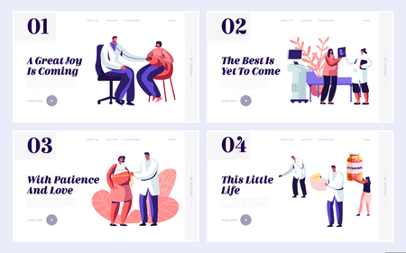 Pregnant Woman at Doctor Appointment in Clinic Website Landing Page Templates Set. Male Doctor Character Doing Medical Check Up. Healthy Pregnancy Web Page. Cartoon Flat Vector Illustration, Banner