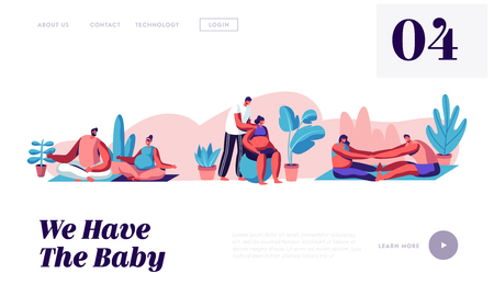 Happy Couples Waiting Baby and Exercising in Gym. Pregnant Women with their Husbands Doing Fitness Sports Activity Together. Website Landing Page, Web Page. Cartoon Flat Vector Illustration, Banner Illustration
