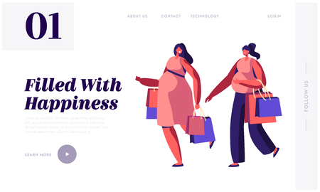 Couple of Young Pregnant Women Going Shopping Website Landing Page. Girls Expecting Babies Leisure, Spare Time, Meeting Friends. Happy Pregnancy Web Page. Cartoon Flat Vector Illustration, Banner Illustration