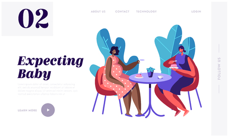 Happy Pregnant Women Spend Time Together Visiting Cafe for Cup of Tea and Chat, Meeting Friends. Healthy Pregnancy Lifestyle. Website Landing Page, Web Page. Cartoon Flat Vector Illustration, Banner Ilustrace