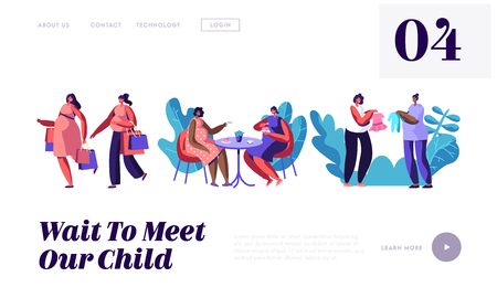 Pregnant Women Spend Time Together Going Shopping, Visiting Cafe, Buying Clothing for Baby, Meeting Friends. Happy Pregnancy. Website Landing Page, Web Page. Cartoon Flat Vector Illustration, Banner Illustration