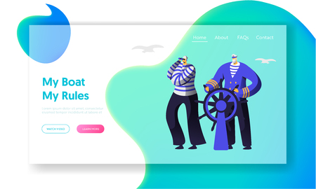 Captain at Steering Wheel, Sailor in Stripped Vests Looking at Binoculars Website Landing Page. Ship Crew, Vessel Stuff Working at Sea. Nautical Job Web Page. Cartoon Flat Vector Illustration, Banner